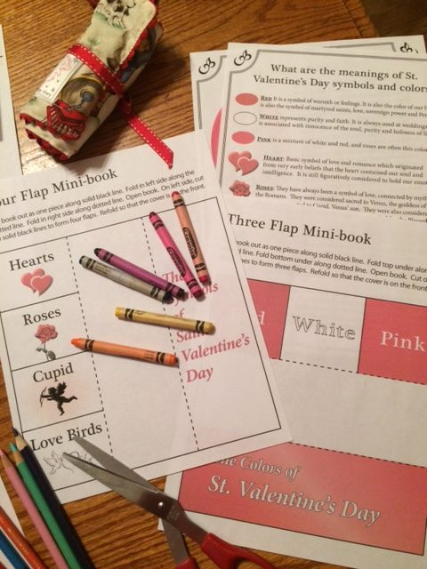 Catholic sheets for St. Valentine learning